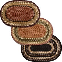 Natural Jute Braided Oval Rug - Olive, Burgundy & Gray