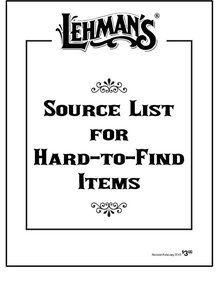 Lehman's Source List for Hard-to-Find Items