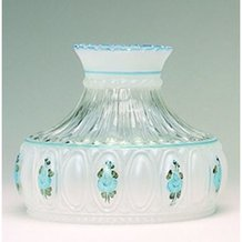 Aladdin Blue Rose Glass Oil Lamp Shade