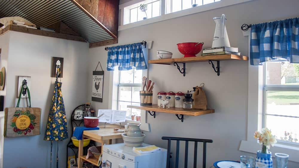 The kitchen area of the Tiny House features Lehman's products that make the most of a small space.
