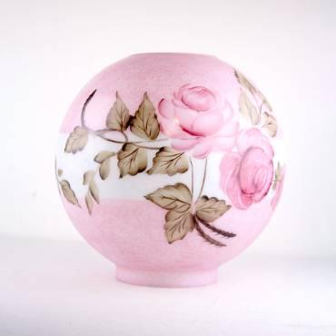 "9"" Opal Queen Elizabeth Carmine Ball Oil Lamp Shade"