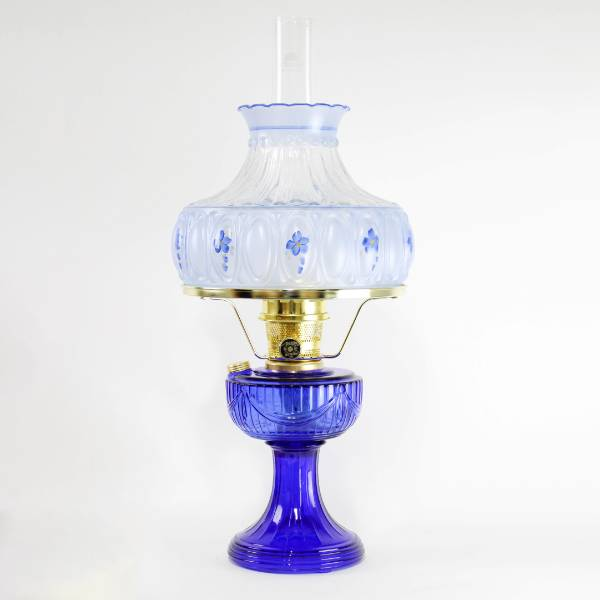 Aladdin Cobalt Lincoln Drape Lamp with Meadow Shade