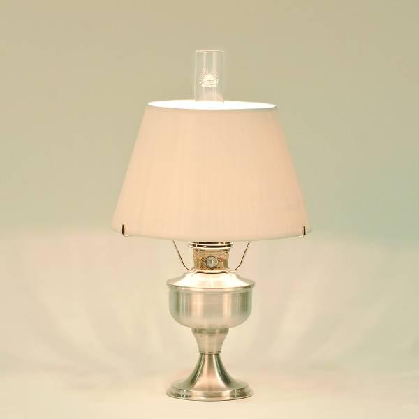 Aladdin Aluminum Table Oil Lamp & White Shade