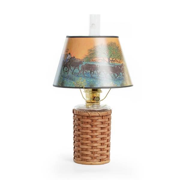 Aladdin Heartland Wicker Oil Lamp with Sunset Shade