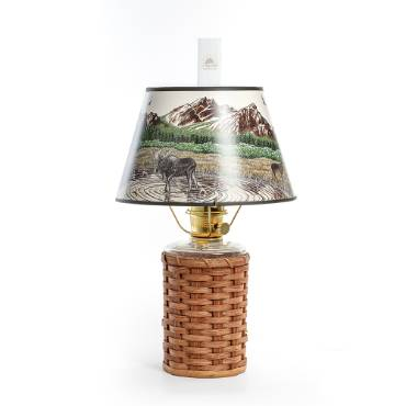 Aladdin Heartland Wicker Oil Lamp with Rocky Mountain Shade