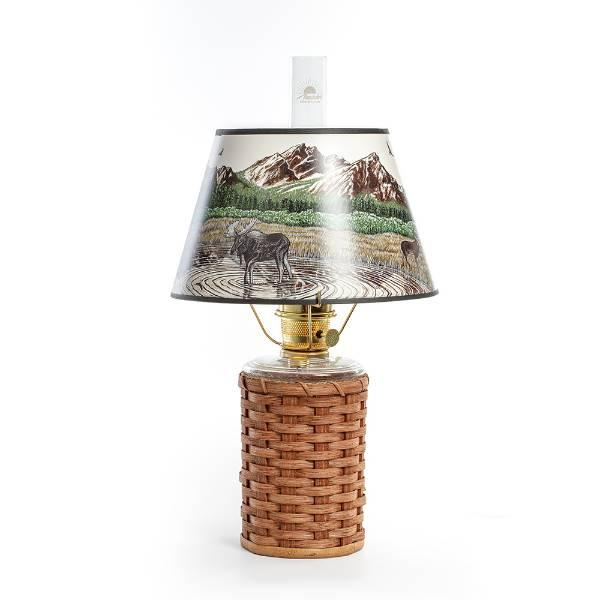 Aladdin Heartland Wicker Oil Lamp with Rocky Mountain Shade