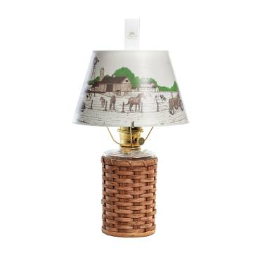 Aladdin Heartland Wicker Oil Lamp with Peace Love Farm Shade