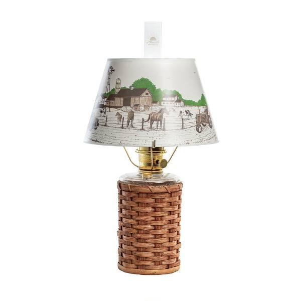 Aladdin Heartland Wicker Oil Lamp with Peace Love Farm Shade