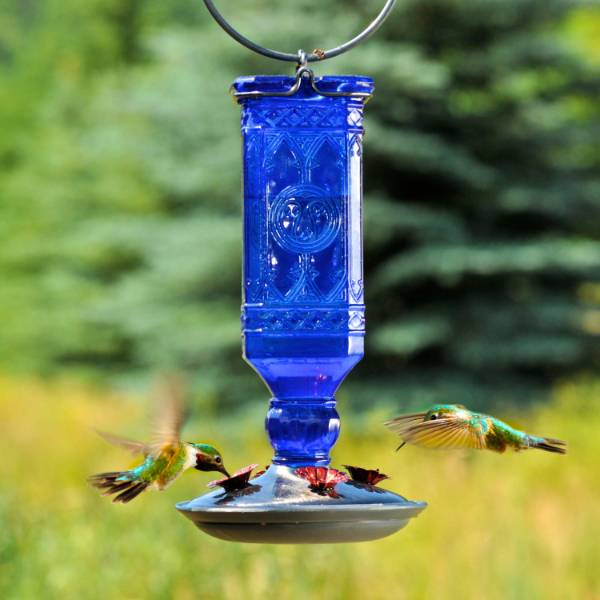 Hummingbird Blue Vintage-Style Bottle Feeder 16 oz