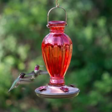 Hummingbird Red Daisy Vase Feeder 18 oz