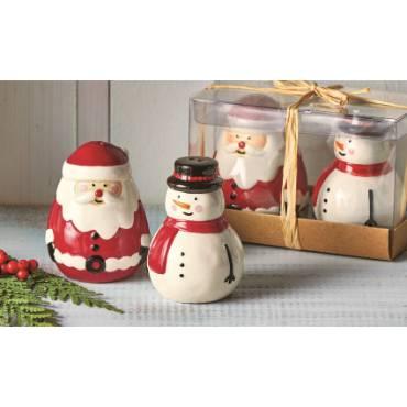 Jolly Santa & Snowman Salt & Pepper Shaker Set