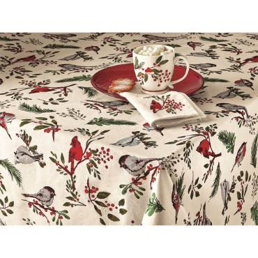 "Birds and Berries Tablecloth 84"" x 60"""
