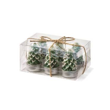 Rustic Spruce Tree Tealight Candles - Set of 6