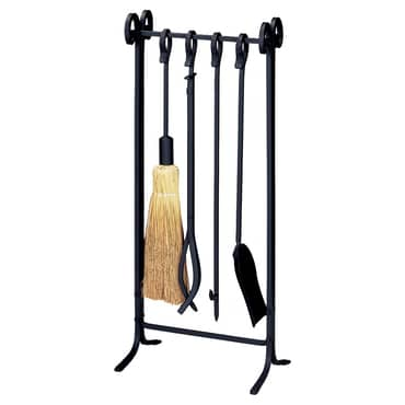 Wrought Iron Inline Fireset with Crook Handles