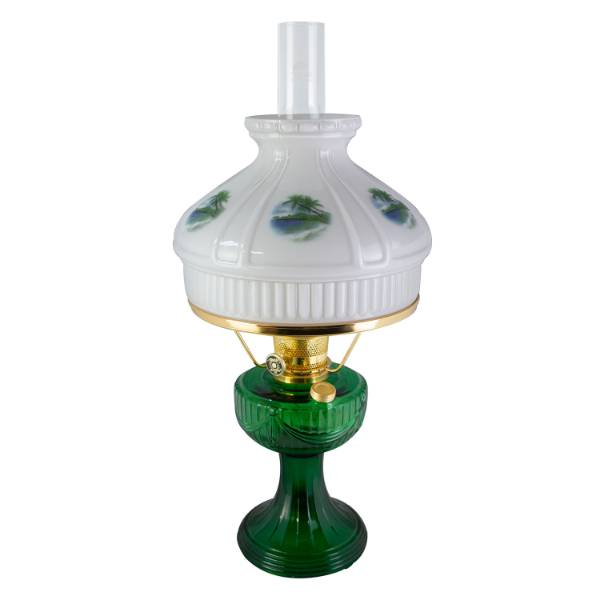 Aladdin Emerald Lincoln Drape Lamp with Beach Paradise Shade
