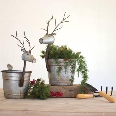 Metal Deer Planters - Set of 2
