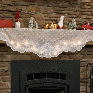 Holiday Mantel Scarf with Lights