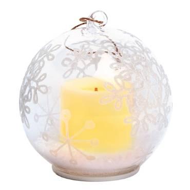 Snowflake LED Glass Ornament