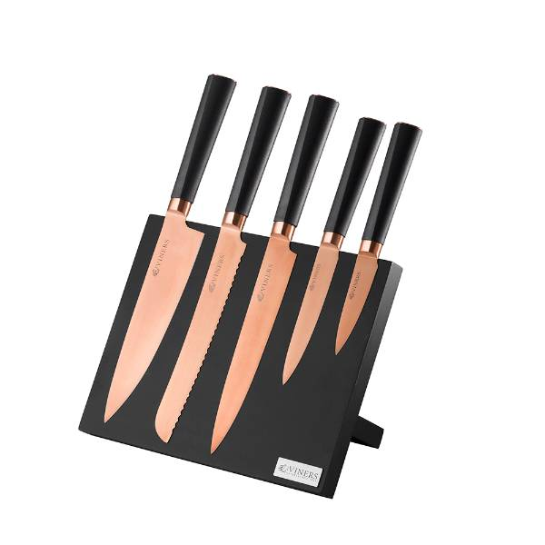 6-Piece Titan Copper Knife Block Giftbox