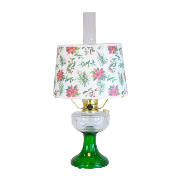 Aladdin Clear Over Emerald Lincoln Drape Lamp with Holly Jolly Shade