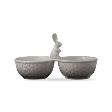 Bunny Basketweave 2-Part Serving Dish