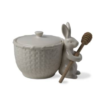 Bunny Basketweave Honey Pot & Dipper Set