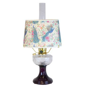 Aladdin Clear-Over Amethyst Lincoln Drape Lamp with Peacock Shade