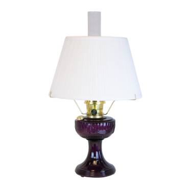 Aladdin Amethyst Lincoln Drape Lamp with White Pleated Shade