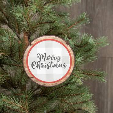 Merry Christmas Checked Ornaments - Set of 2