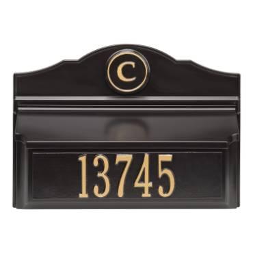 Whitehall Custom Wall Mount Mailbox - Black/Gold
