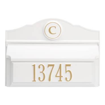 Whitehall Custom Wall Mount Mailbox - White/Gold
