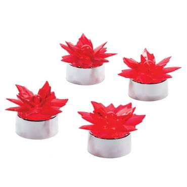 Poinsettia LED Tealight Candles - Set of 4
