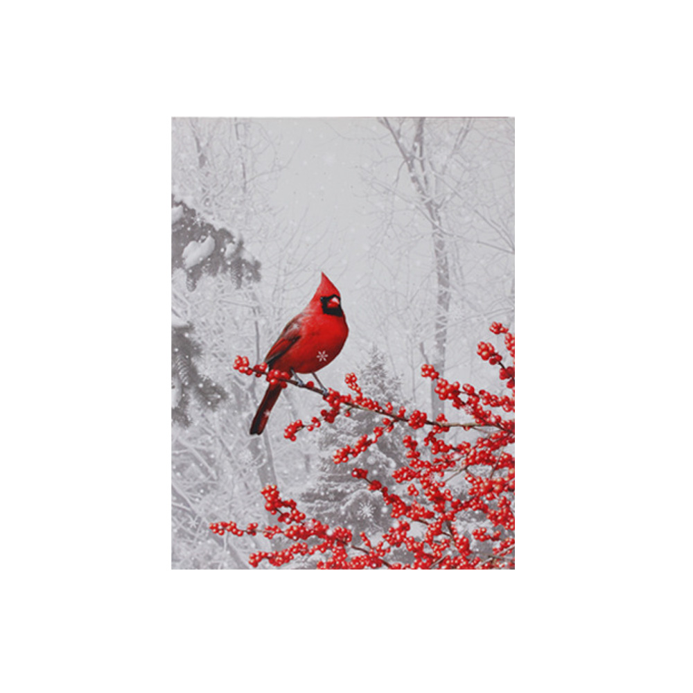Light-Up Winter Cardinal and Berries Canvas