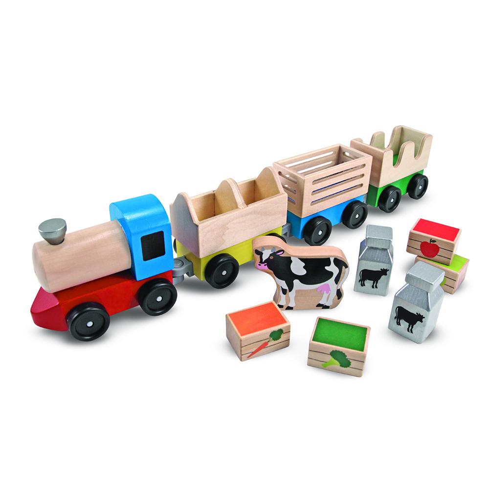 Animal Train Set : Farm animal train toy set wooden toys lehman s