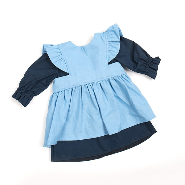 Eli & Mattie Traditional Doll Apron and Dress – Solid Blue