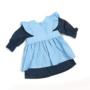 Eli & Mattie Traditional Doll Apron and Dress - Solid Blue