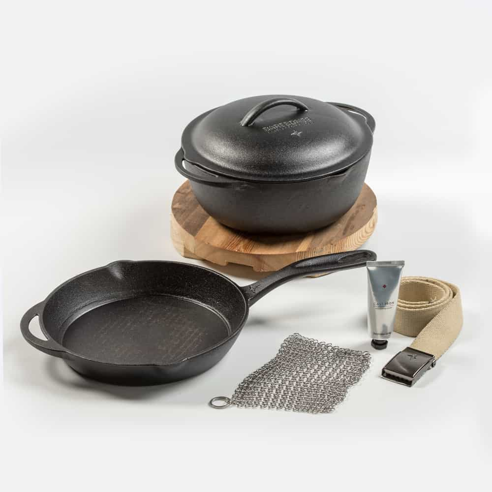 "Cast Iron Gift Set: 12"" Skillet, Crock & Trivet"