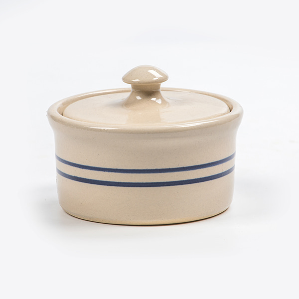 Heritage Blue Stripe Stoneware Ramekin with Lid