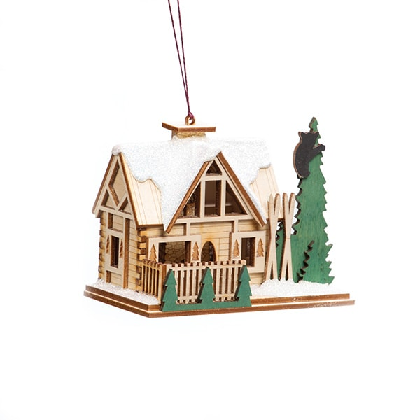 Handmade Santa's Ski Lodge Ornament