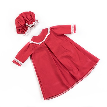 Eli & Mattie Doll Nightgown & Cap - Red Cotton