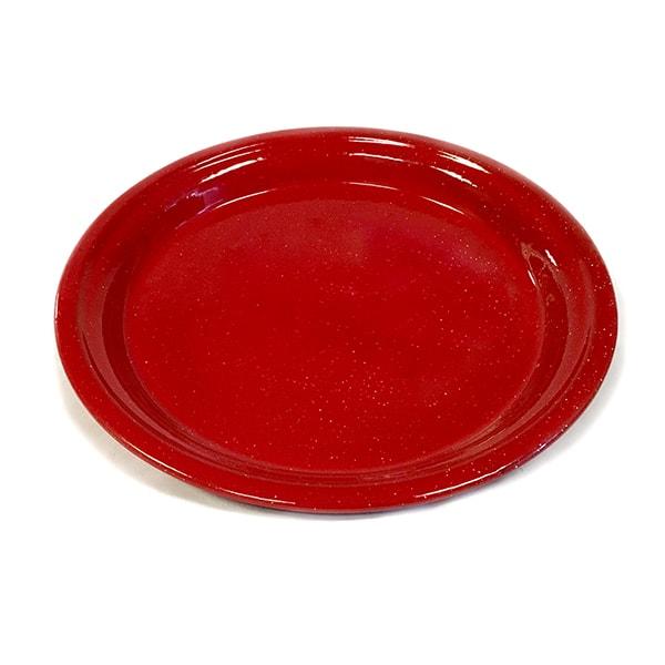 """Red Enamelware Plate 12.5"""""""