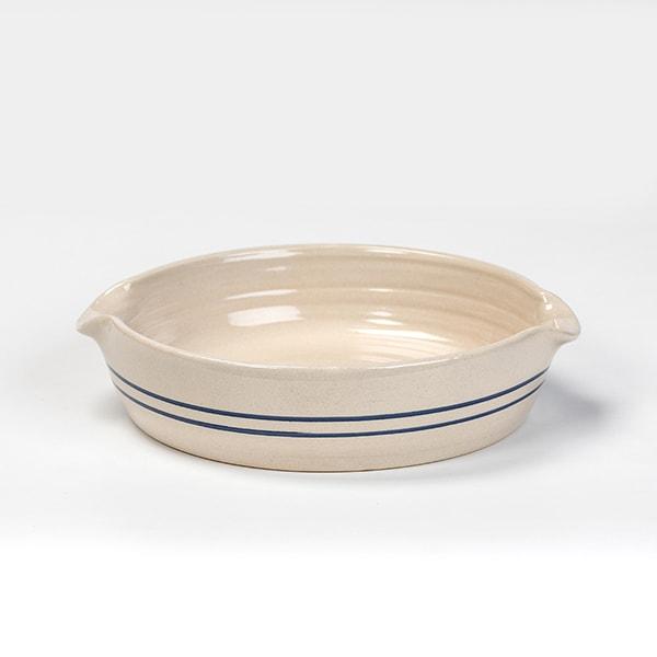 Heritage Blue Stripe Stoneware Cornbread Pan