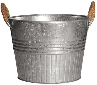 Galvanized Planter Tubs with Rope Handles