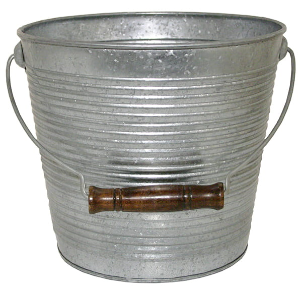 Galvanized Ribbed Bucket Planters