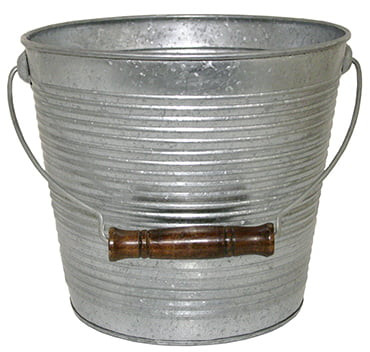 Galvanized Ribbed Bucket Planters