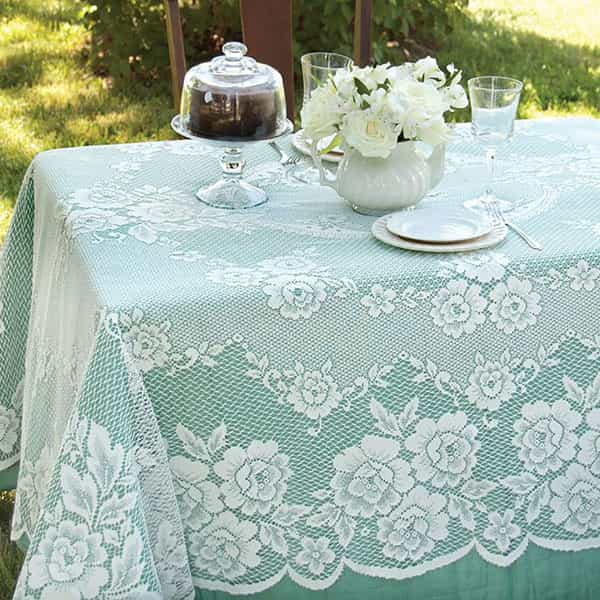 Victorian Rose Rectangle Lace Tablecloth
