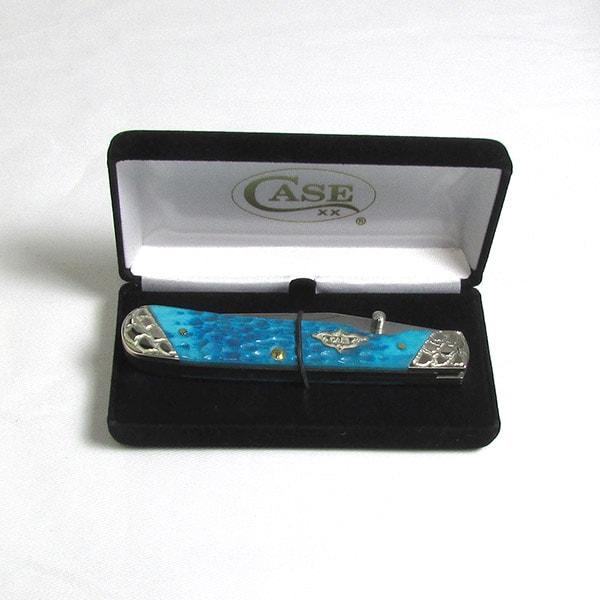 Case Caribbean Blue Bone TrapperLock Knife