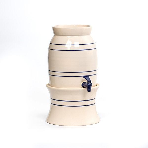 Heritage Blue Stripe Stoneware Water Cooler and Vinegar Crock