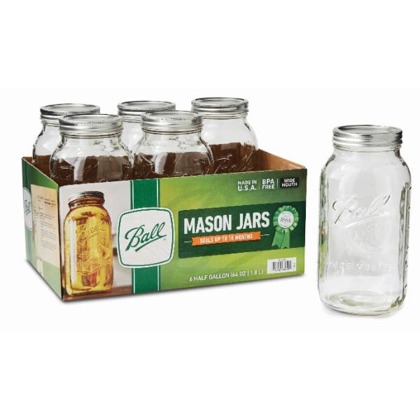 Ball Wide-Mouth Half-Gallon Canning Jars (6)