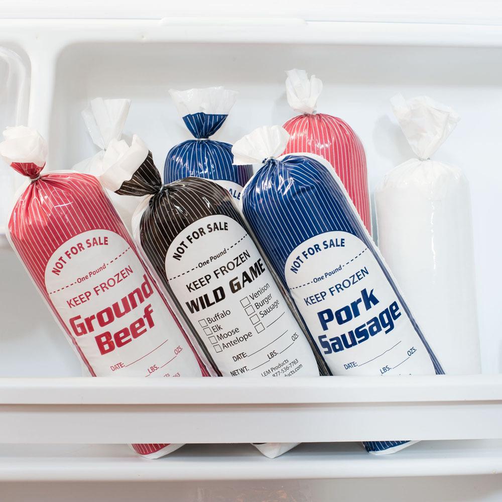 PRODUCE SAUSAGE /& GROUND MEAT BAG TAPING MACHINE